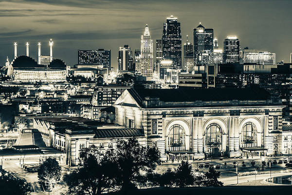 Photograph - Kansas City Skyline Over Union Station - Sepia Edition by Gregory Ballos