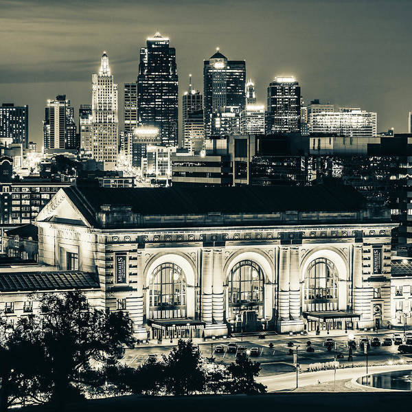 Photograph - Kansas City Skyline Twilight - Square Format Sepia by Gregory Ballos