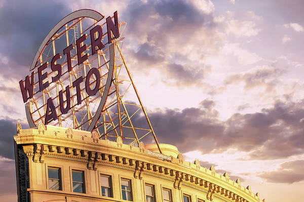 Photograph - Kansas City Western Auto Neon Sign At Sunrise by Gregory Ballos