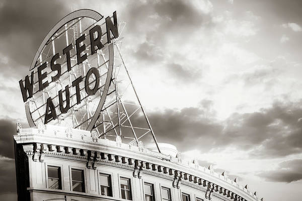 Photograph - Kansas City Western Auto Neon Sign At Sunrise - Sepia by Gregory Ballos
