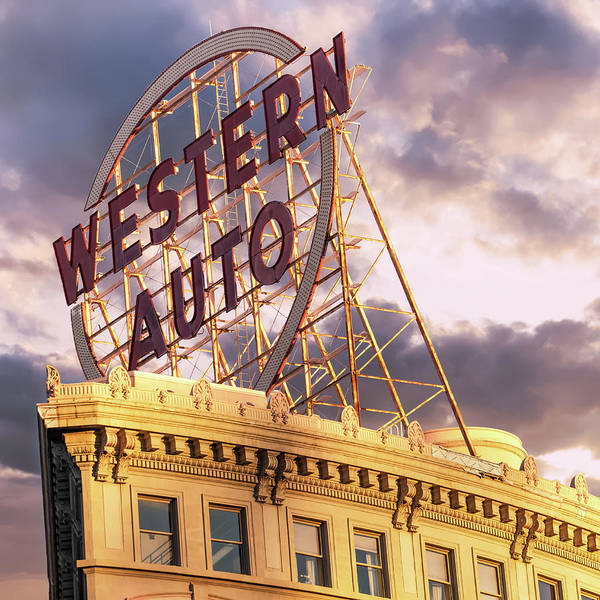 Photograph - Kansas City Western Auto Neon Sign - Square Format by Gregory Ballos