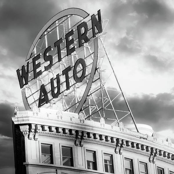 Photograph - Kansas City Western Auto Neon Sign - Square Format Monochrome by Gregory Ballos
