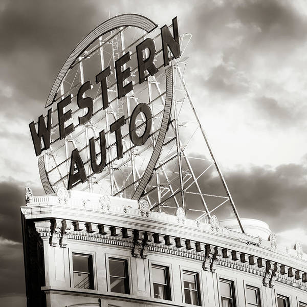 Wall Art - Photograph - Kansas City Western Auto Neon Sign - Square Format Sepia by Gregory Ballos