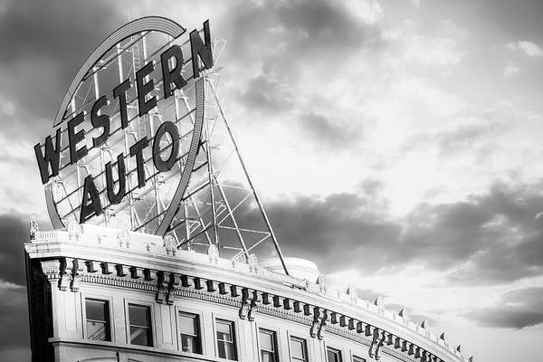 Photograph - Kansas City Western Auto Neon Sign - Black And White by Gregory Ballos