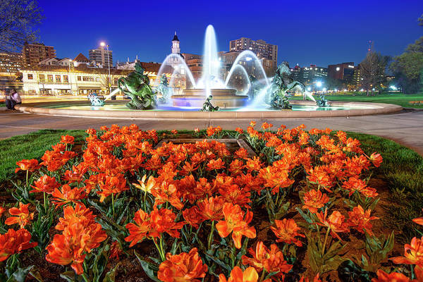 Photograph - Kansas City's J.c. Nichols Fountain Over Spring Bloom by Gregory Ballos