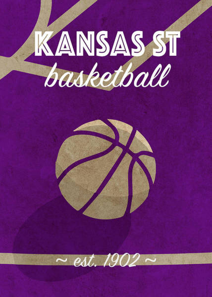 Wall Art - Mixed Media - Kansas St University Retro College Basketball Team Poster by Design Turnpike