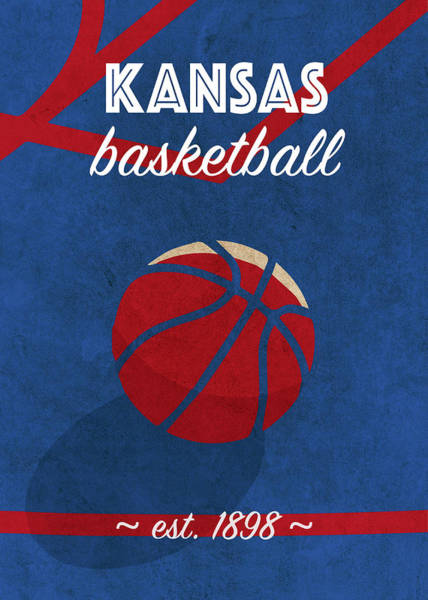 Wall Art - Mixed Media - Kansas University Retro College Basketball Team Poster by Design Turnpike