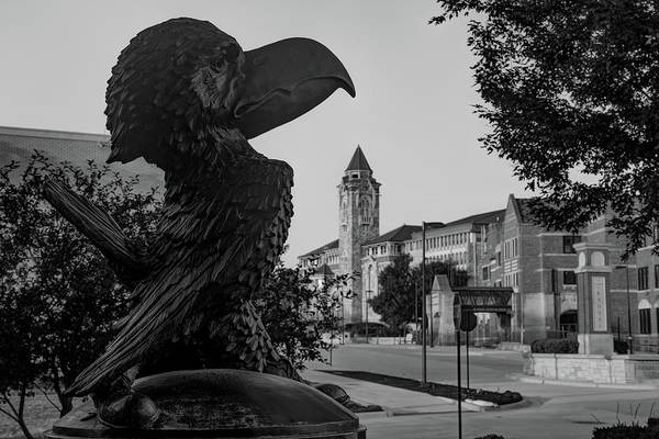 Photograph - Kansas University Skyline Along Jayhawk Boulevard In Monochrome by Gregory Ballos