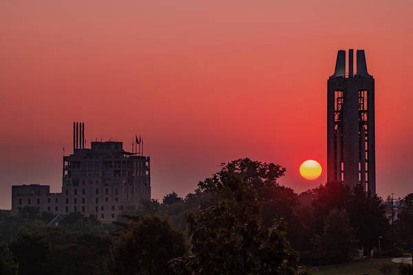 Photograph - Kansas University Skyline Red Dawn Sunrise by Gregory Ballos