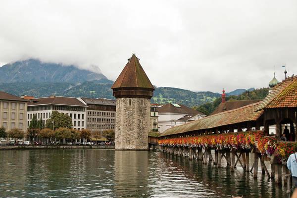 Chapel Bridge Photograph - Kapellbrucke On Reuss River, Lucerne by Cultura Rf/rosanna U