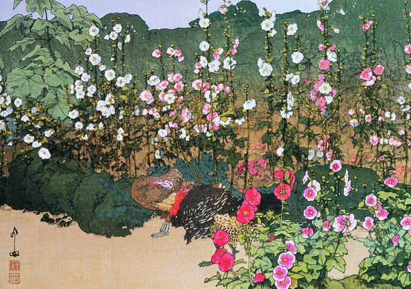 Golden Bloom Painting - Karaaoi, Alcea Rosea - Digital Remastered Edition by Yoshida Hiroshi