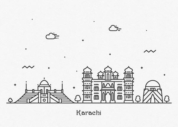 Landmark Center Drawing - Karachi Cityscape Travel Poster by Inspirowl Design