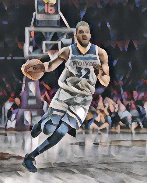 Wall Art - Mixed Media - Karl Anthony Towns Minnesota Timberwolves Abstract Art 1 by Joe Hamilton
