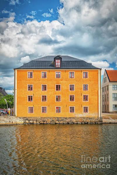 Wall Art - Photograph - Karlskrona Harbour Cityscape Warehouse Apartment Block by Antony McAulay