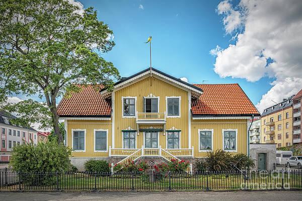 Wall Art - Photograph - Karlskrona Harbour Cityscape Yellow House by Antony McAulay