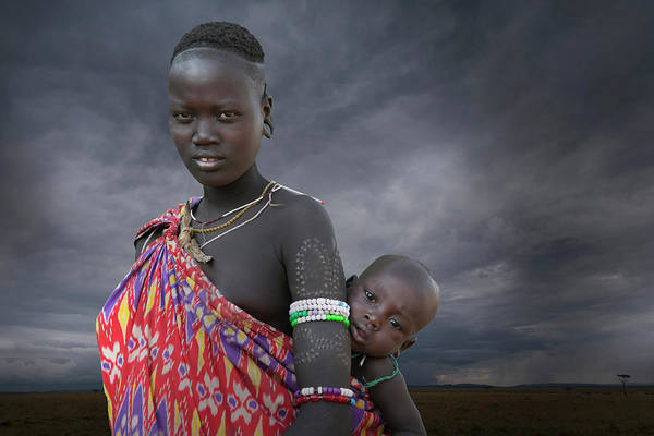 Karo Tribe  Woman With Child Art Print by Buena Vista Images