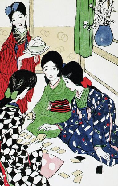 Wall Art - Painting - Karuta Tournament - Digital Remastered Edition by Takehisa Yumeji
