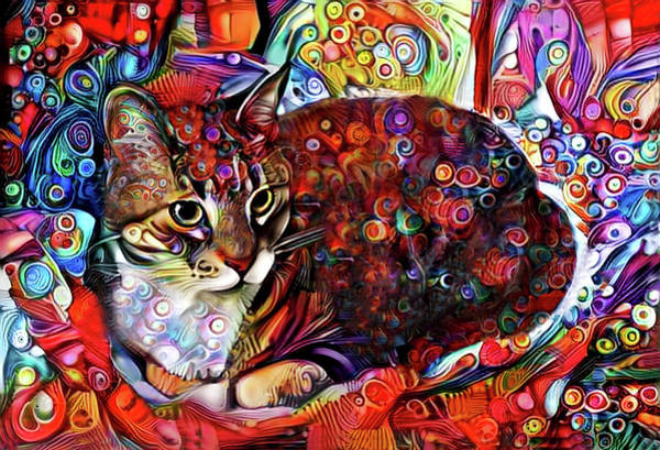 Digital Art - Kasha The Colorful Tabby Cat by Peggy Collins