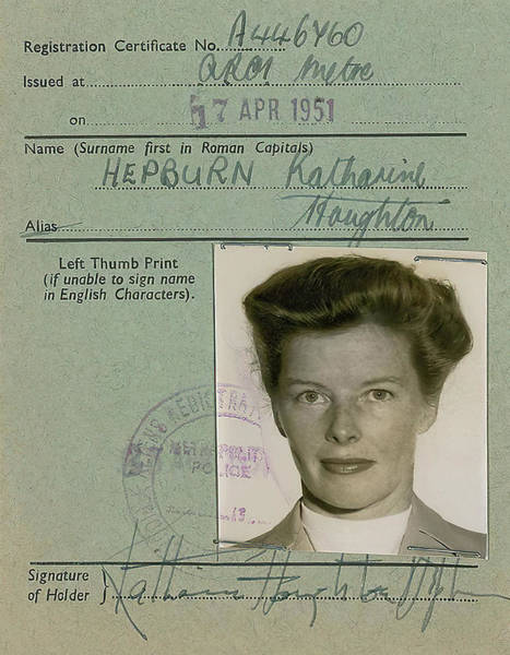 Leading Actress Wall Art - Photograph - Katherine Hepburn's U. K. Alien Registration Certificate 1951 by Daniel Hagerman