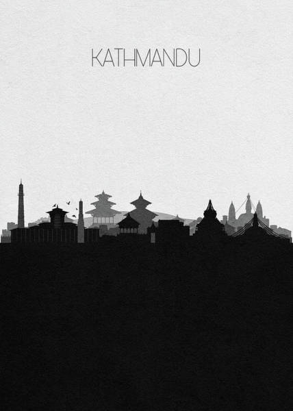 Wall Art - Digital Art - Kathmandu Cityscape Art by Inspirowl Design