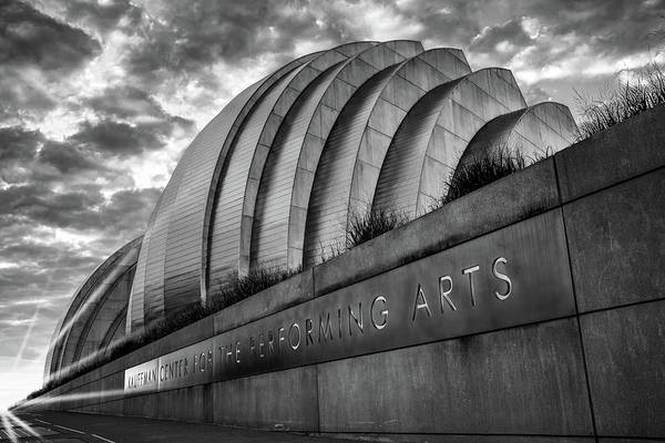 Photograph - Kauffman Center Black And White Sunrise - Downtown Kansas City by Gregory Ballos