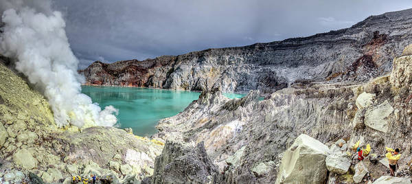 Sulphur Photograph - Kawah Ijen - Sulphur Mining Crater by Paul Cowell Photography