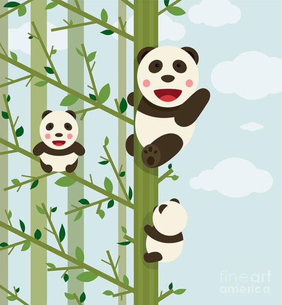 Panda Wall Art - Digital Art - Kawaii Bears In Forest. Funny Kawaii by Popmarleo