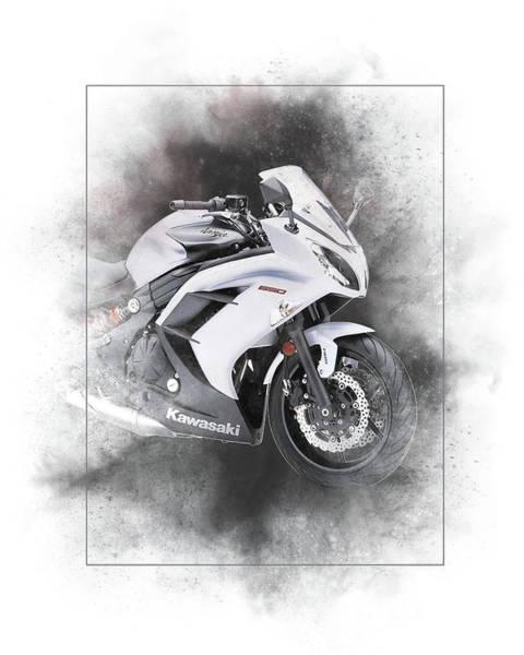 Wall Art - Mixed Media - Kawasaki Ninja 650 Sport Painting by Smart Aviation