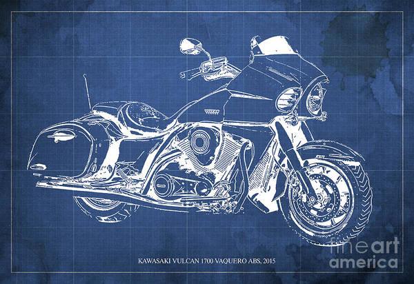 Vulcan Wall Art - Digital Art - Kawasaki Vulcan 1700 Vaquero Abs, 2015 Blueprint Blue Background by Drawspots Illustrations