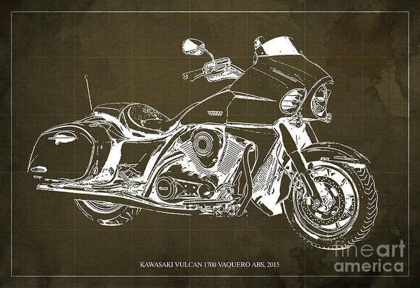 Vulcan Wall Art - Photograph - Kawasaki Vulcan 1700 Vaquero Abs, 2015 Blueprint Brown Vintage Background by Drawspots Illustrations