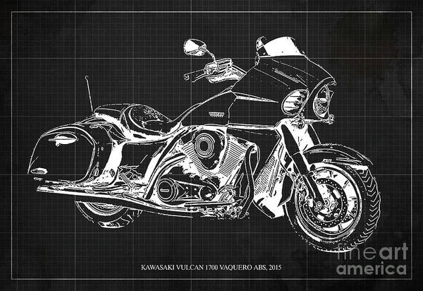 Vulcan Wall Art - Digital Art - Kawasaki Vulcan 1700 Vaquero Abs, 2015 Blueprint Dark Grey Background by Drawspots Illustrations