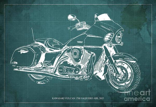 Vulcan Wall Art - Digital Art - Kawasaki Vulcan 1700 Vaquero Abs, 2015 Blueprint Green Vintage Background by Drawspots Illustrations