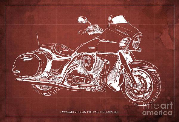Vulcan Wall Art - Digital Art - Kawasaki Vulcan 1700 Vaquero Abs, 2015 Blueprint Red Background by Drawspots Illustrations