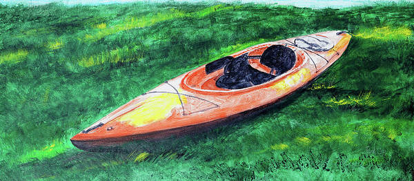 Painting - Kayak In The Grass by Paul Gaj