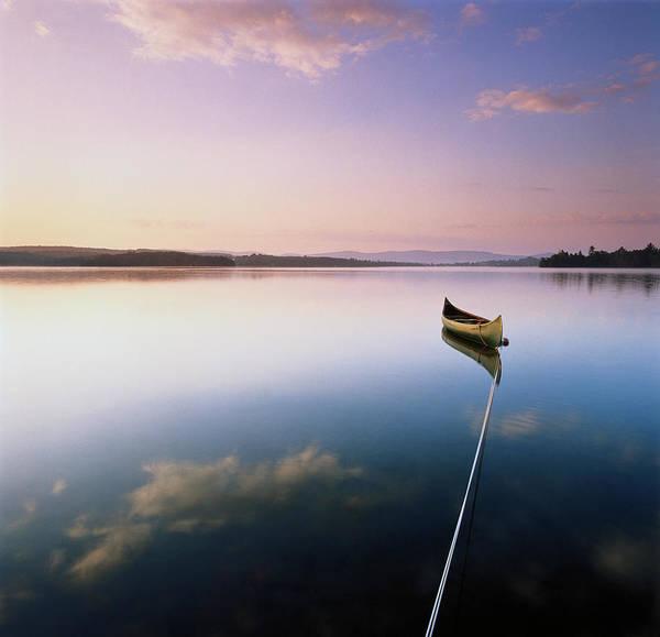 Vermont Photograph - Kayak Moored On Calm Lake by Sara Gray