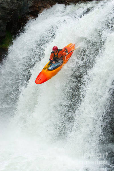 Wall Art - Photograph - Kayaker Jumping From A Waterfall by Ivan Chudakov