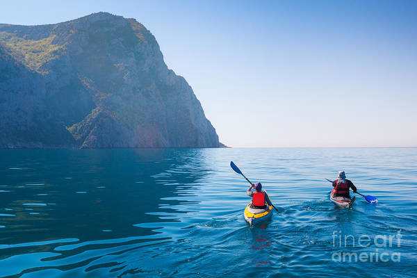 Wall Art - Photograph - Kayaking In The Sea From Back View by Kuznetcov konstantin