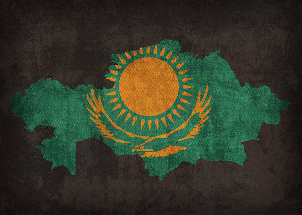 Wall Art - Mixed Media - Kazakhstan Country Flag Map by Design Turnpike