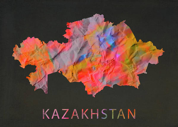 Wall Art - Mixed Media - Kazakhstan Tie Dye Country Map by Design Turnpike