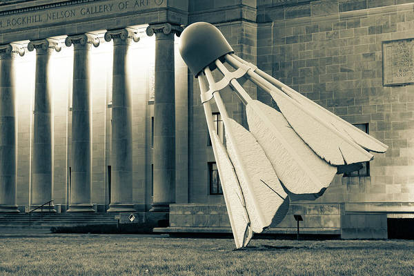 Photograph - Kc Shuttlecock At Nelson Atkins Museum - Sepia Edition by Gregory Ballos