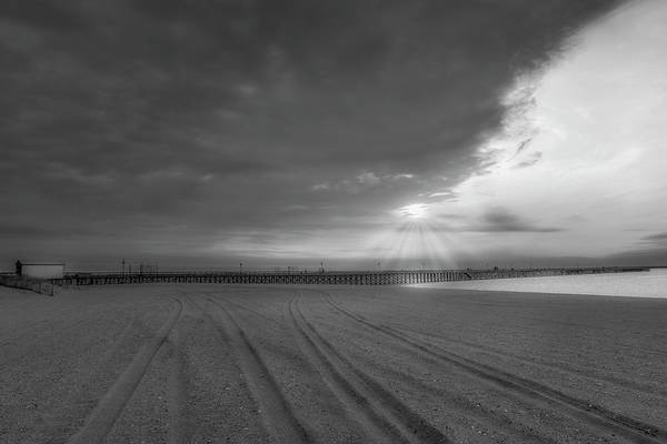 Photograph - Keansburg Fishing Pier Bw by Susan Candelario