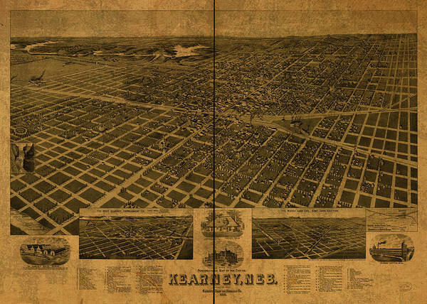 Wall Art - Mixed Media - Kearney Nebraska Progress Vintage City Street Map 1889 by Design Turnpike