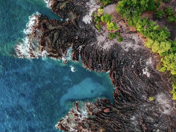 Photograph - Keauhou Coastline Aerial by Christopher Johnson