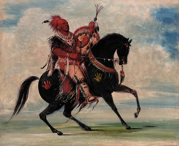 Wall Art - Painting - Kee-o-kuk, The Watchful Fox, Chief Of The Tribe, On Horseback by George Catlin