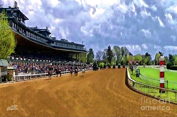 Digital Art - Keeneland The Stretch by CAC Graphics