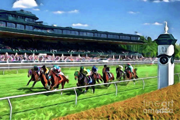 Digital Art - Keeneland To The Finish Line by CAC Graphics