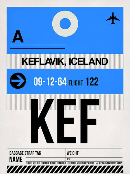 Wall Art - Digital Art - Kef Keflavik Luggage Tag I by Naxart Studio