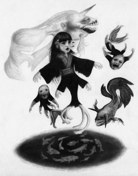 Drawing - Keiko Among The Koi - Artwork by Ryan Nieves
