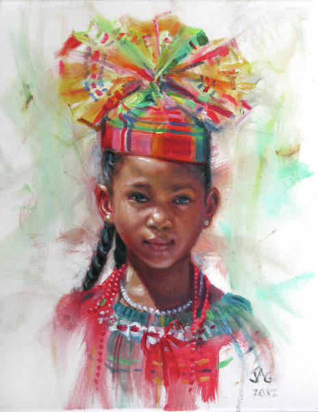 Saint Lucia Painting - Kejeem With Fanhat by Jonathan Guy-Gladding JAG