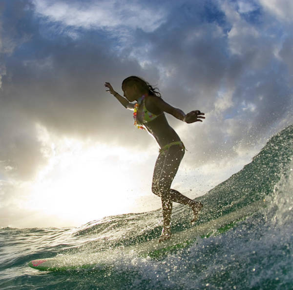 Longboard Photograph - Sunset Surfer Girl - Square Format by Sean Davey